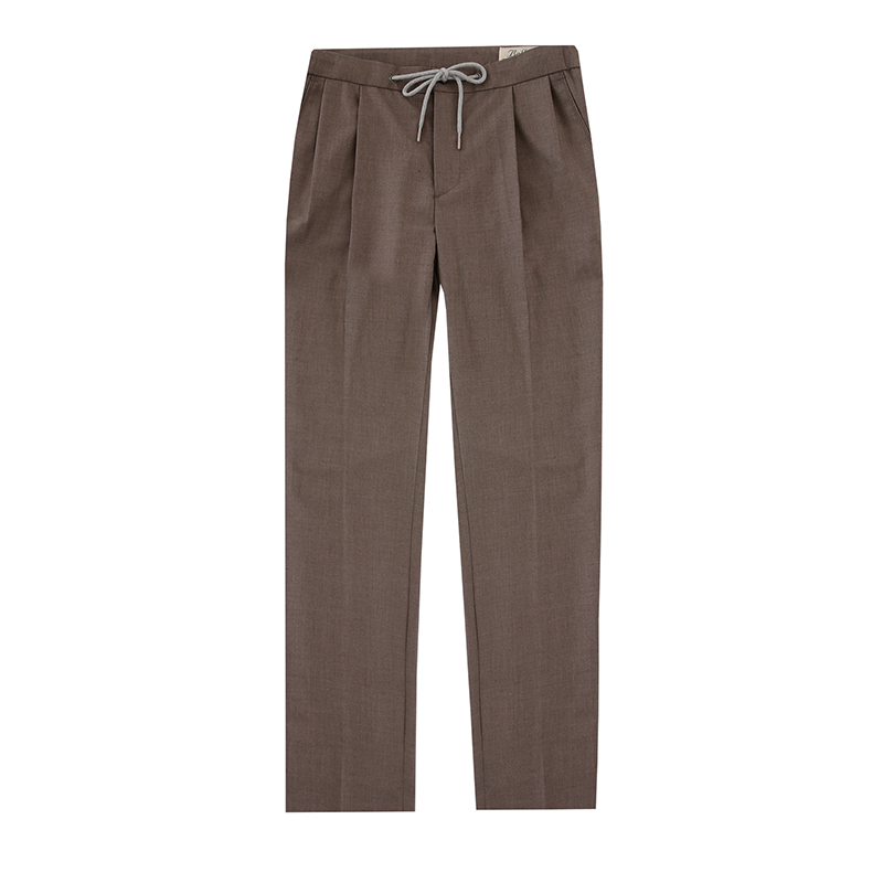String band two tuck slacks (Light brown)